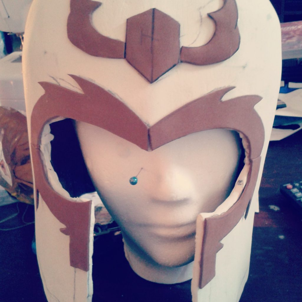 Adding foam details to Magneto Cosplay helmet