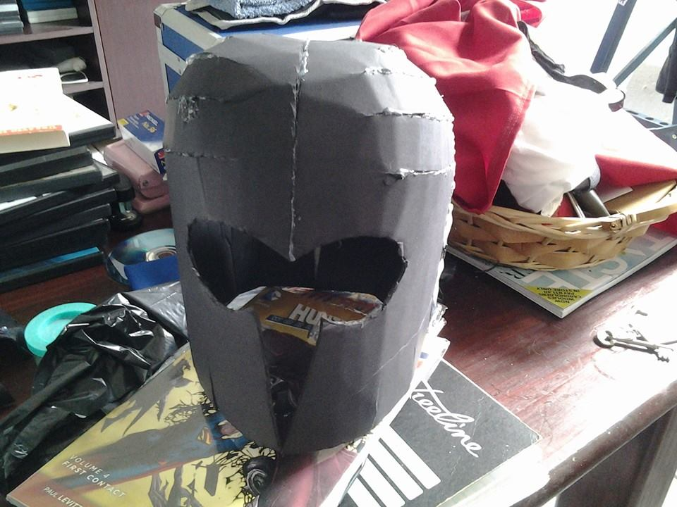 Magneto Cosplay helmet made from cardboard glued together