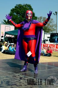 Magneto Cosplay on stage at Geekfest 2015