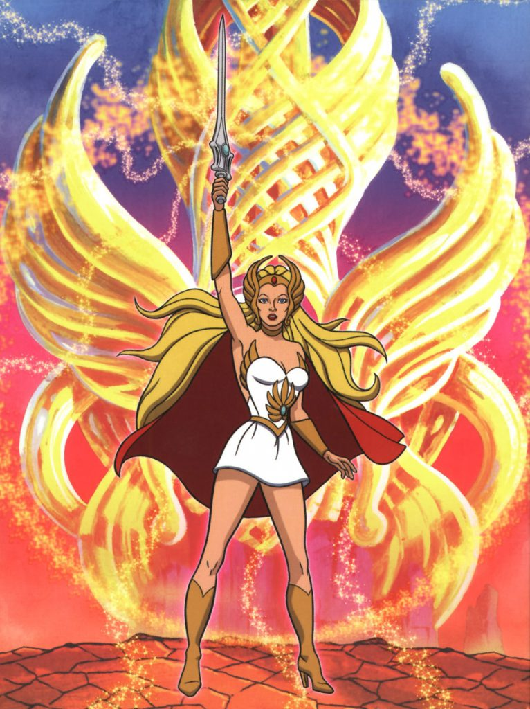 She-ra from the animated series holding her sword above her head