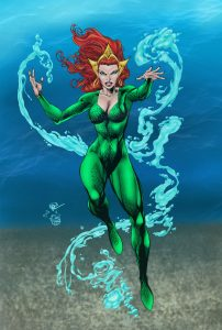 Drawing of Mera floating under water using her powers