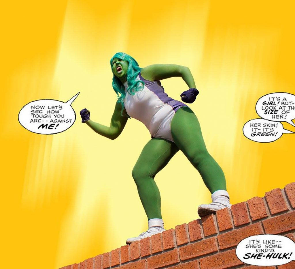 Cartoon picture of She-Hulk Cosplay