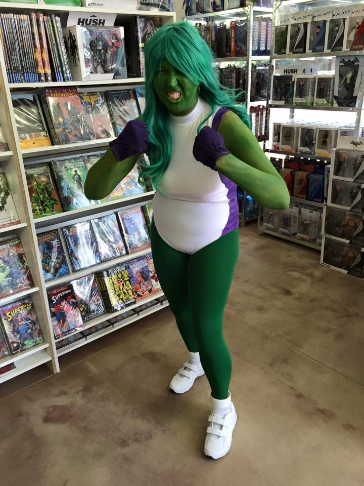 she-hulk cosplay at Smallville Comics Johannesburg