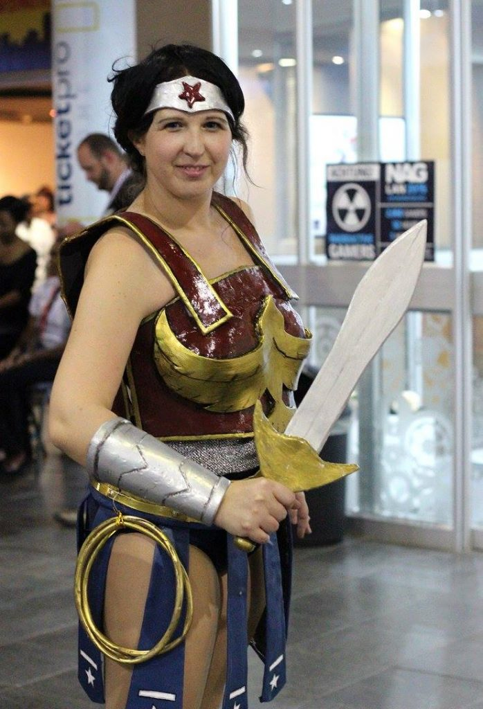 Wonder Woman's Divine Armour cosplay posing at Rage Expo