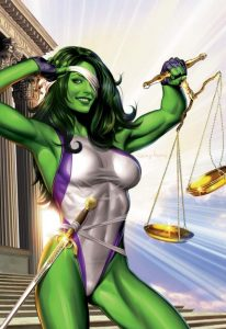 drawing of She-Hulk being the defender of justice, holding weights and her 1 eye covered