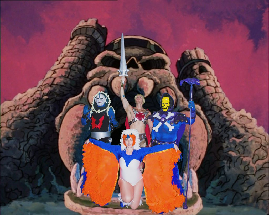 Masters of The Universe Group picture in front of Castle Greyskull