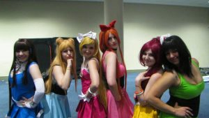 6 cosplayers dressed as the Powerpuff Girls and LoliRock girls
